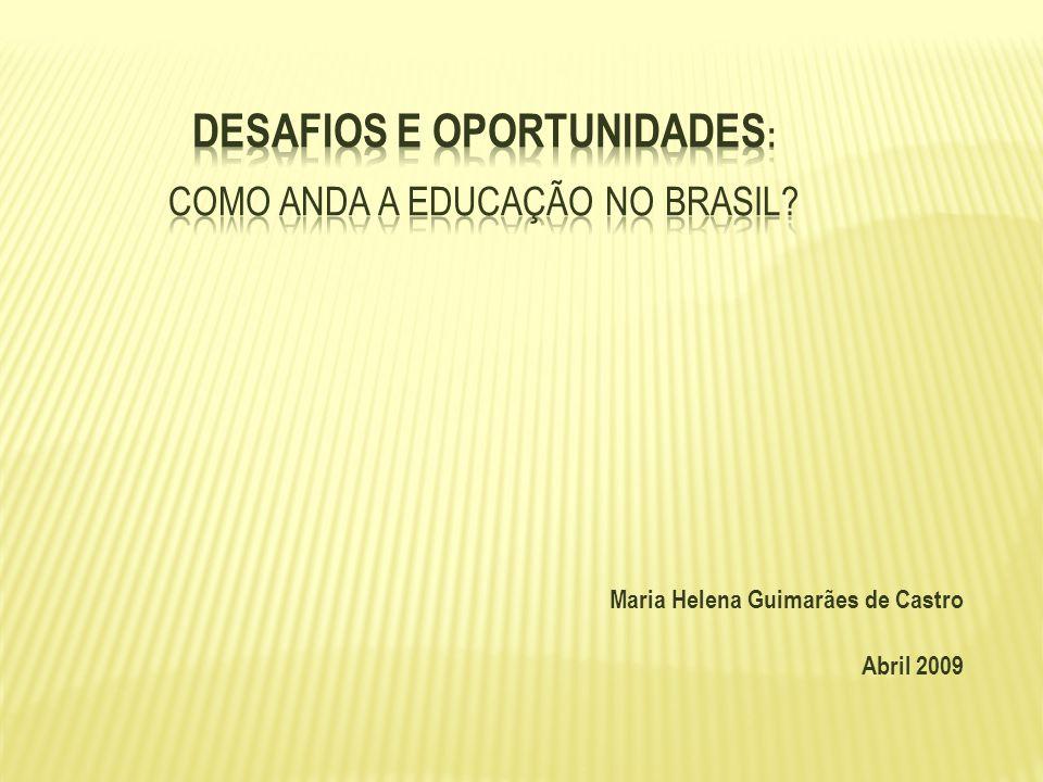 Mobilização da sociedade civil : Compromisso Todos pela Educação Prova Brasil Índice de Desenvolvimento da Educação (IDEB) Melhoria do desempenho dos alunos na 4ª.