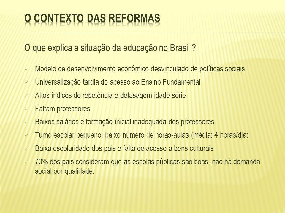 O que explica a situação da educação no Brasil ? Modelo de desenvolvimento econômico desvinculado de políticas sociais Universalização tardia do acess