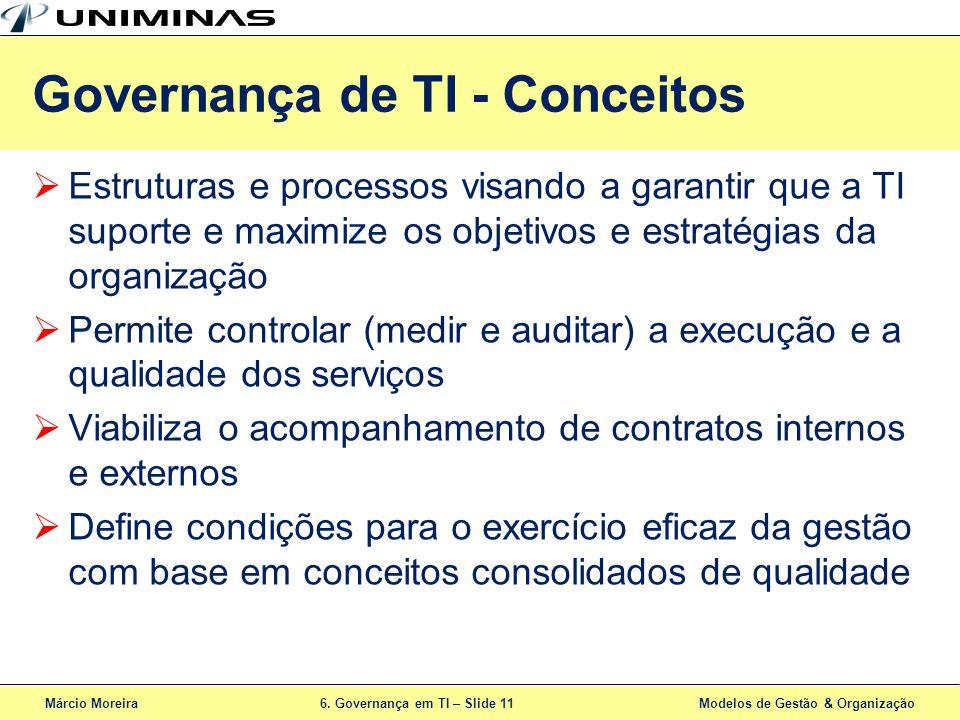 Márcio Moreira6. Governança em TI – Slide 11 Modelos de Gestão & Organização Estruturas e processos visando a garantir que a TI suporte e maximize os