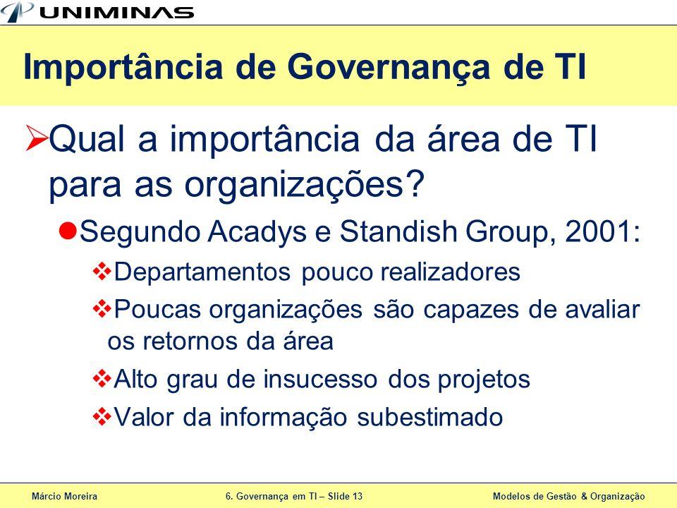 Márcio Moreira6. Governança em TI – Slide 13 Modelos de Gestão & Organização Qual a importância da área de TI para as organizações? Segundo Acadys e S