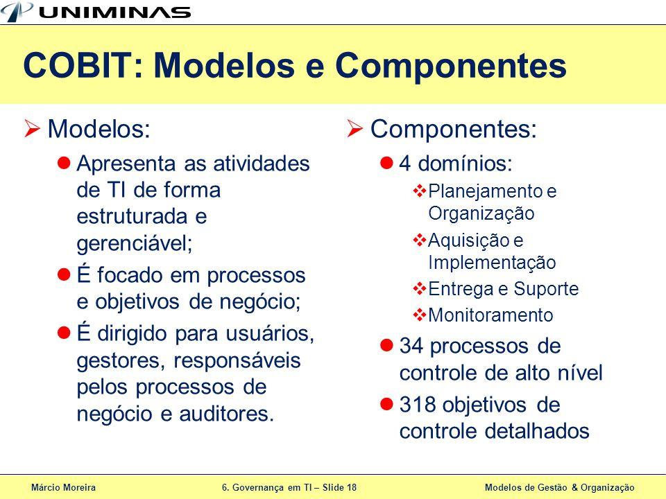 Márcio Moreira6. Governança em TI – Slide 18 Modelos de Gestão & Organização COBIT: Modelos e Componentes Modelos: Apresenta as atividades de TI de fo