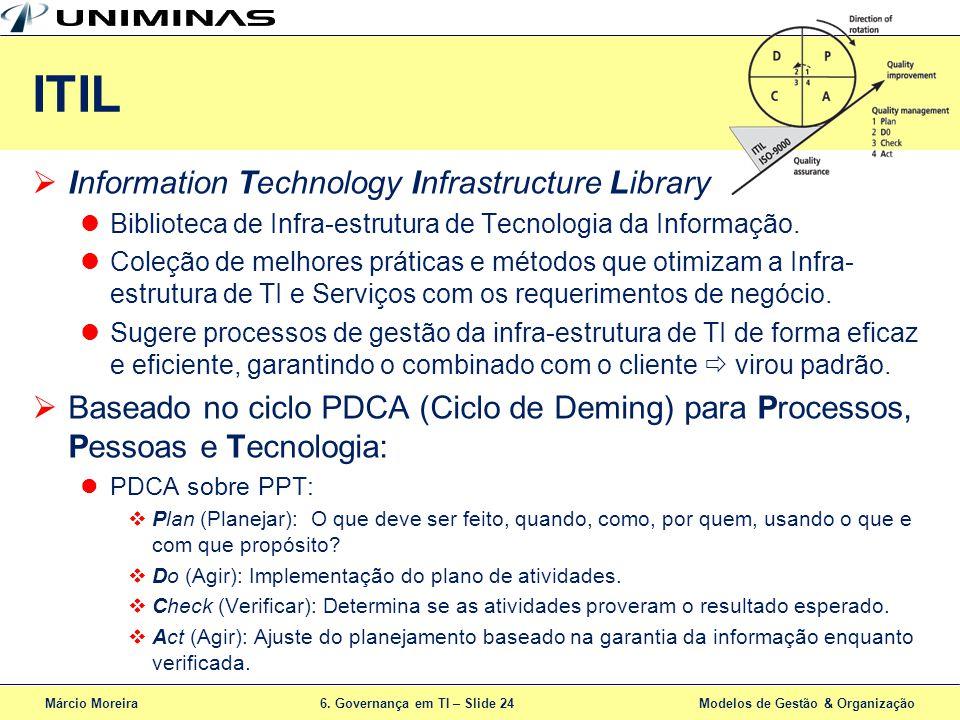 Márcio Moreira6. Governança em TI – Slide 24 Modelos de Gestão & Organização ITIL Information Technology Infrastructure Library Biblioteca de Infra-es