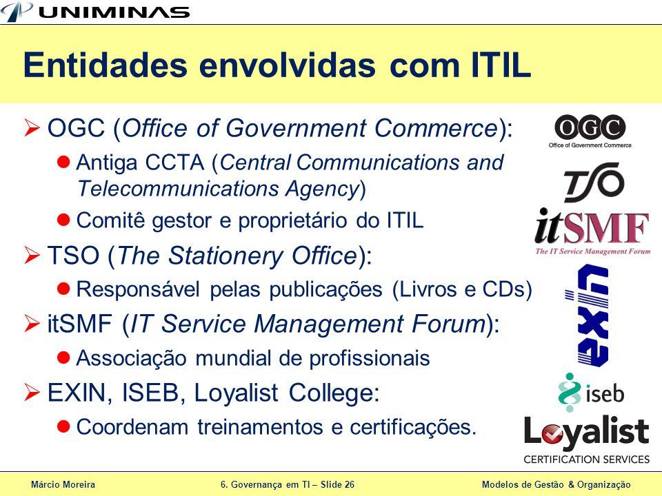 Márcio Moreira6. Governança em TI – Slide 26 Modelos de Gestão & Organização Entidades envolvidas com ITIL OGC (Office of Government Commerce): Antiga