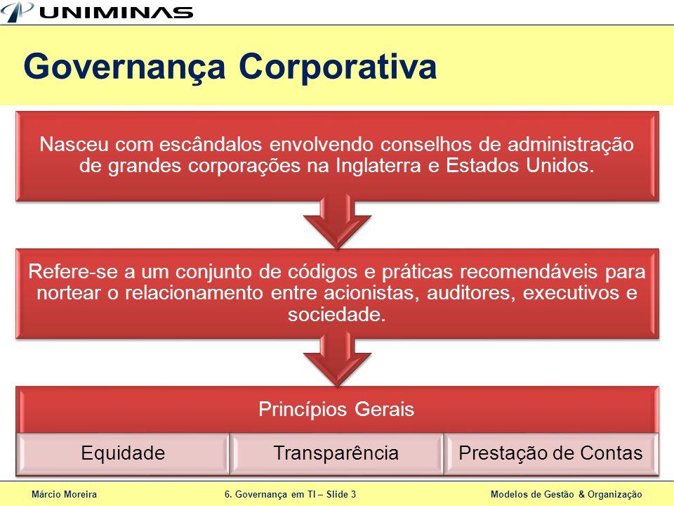 Márcio Moreira6. Governança em TI – Slide 3 Modelos de Gestão & Organização Princípios Gerais EquidadeTransparênciaPrestação de Contas Refere-se a um