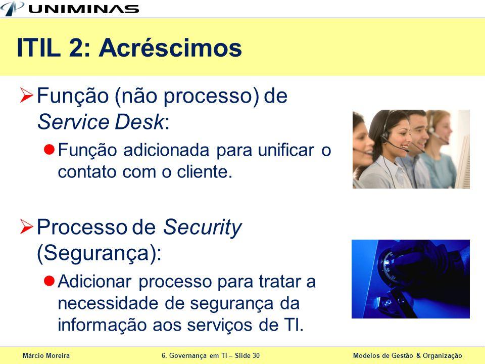 Márcio Moreira6. Governança em TI – Slide 30 Modelos de Gestão & Organização ITIL 2: Acréscimos Função (não processo) de Service Desk: Função adiciona