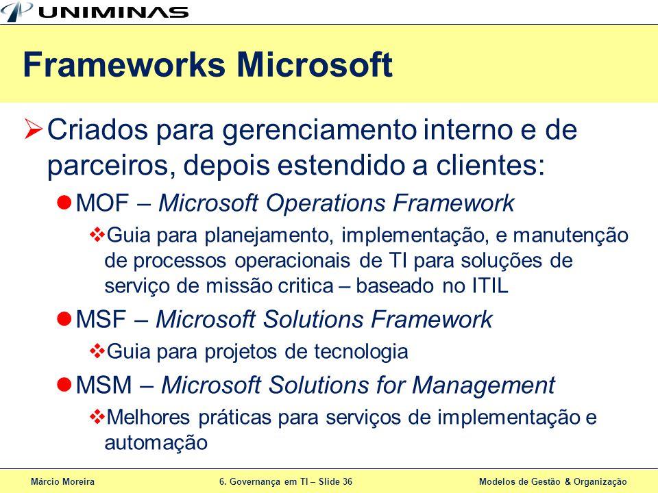 Márcio Moreira6. Governança em TI – Slide 36 Modelos de Gestão & Organização Criados para gerenciamento interno e de parceiros, depois estendido a cli