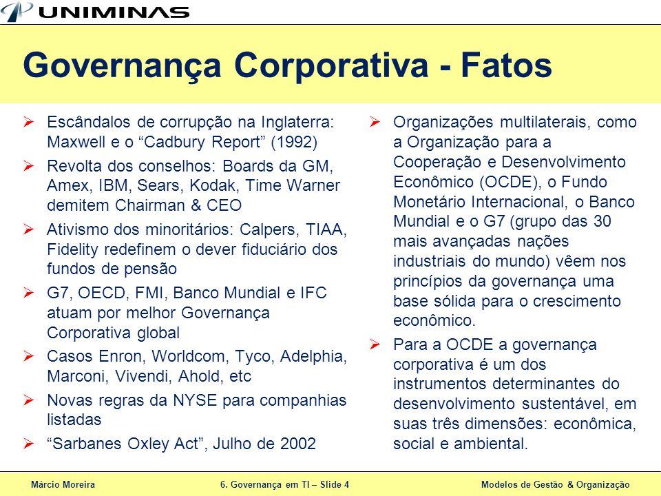 Márcio Moreira6. Governança em TI – Slide 4 Modelos de Gestão & Organização Governança Corporativa - Fatos Escândalos de corrupção na Inglaterra: Maxw