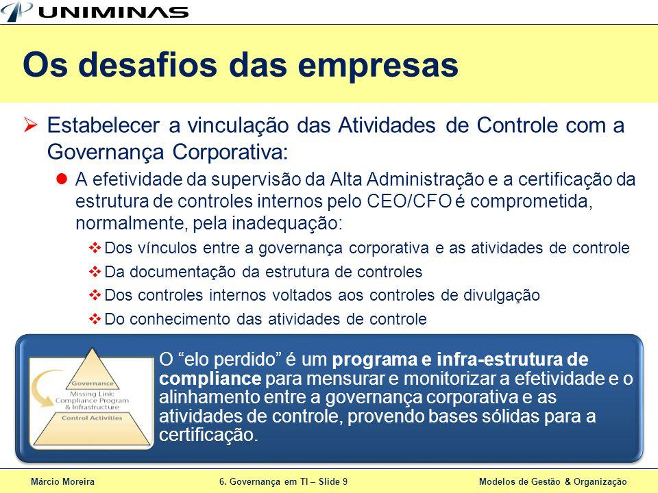 Márcio Moreira6. Governança em TI – Slide 9 Modelos de Gestão & Organização Estabelecer a vinculação das Atividades de Controle com a Governança Corpo