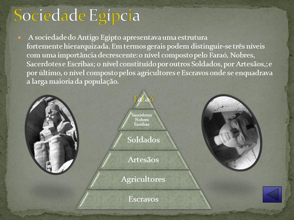 A sociedade do Antigo Egipto apresentava uma estrutura fortemente hierarquizada.