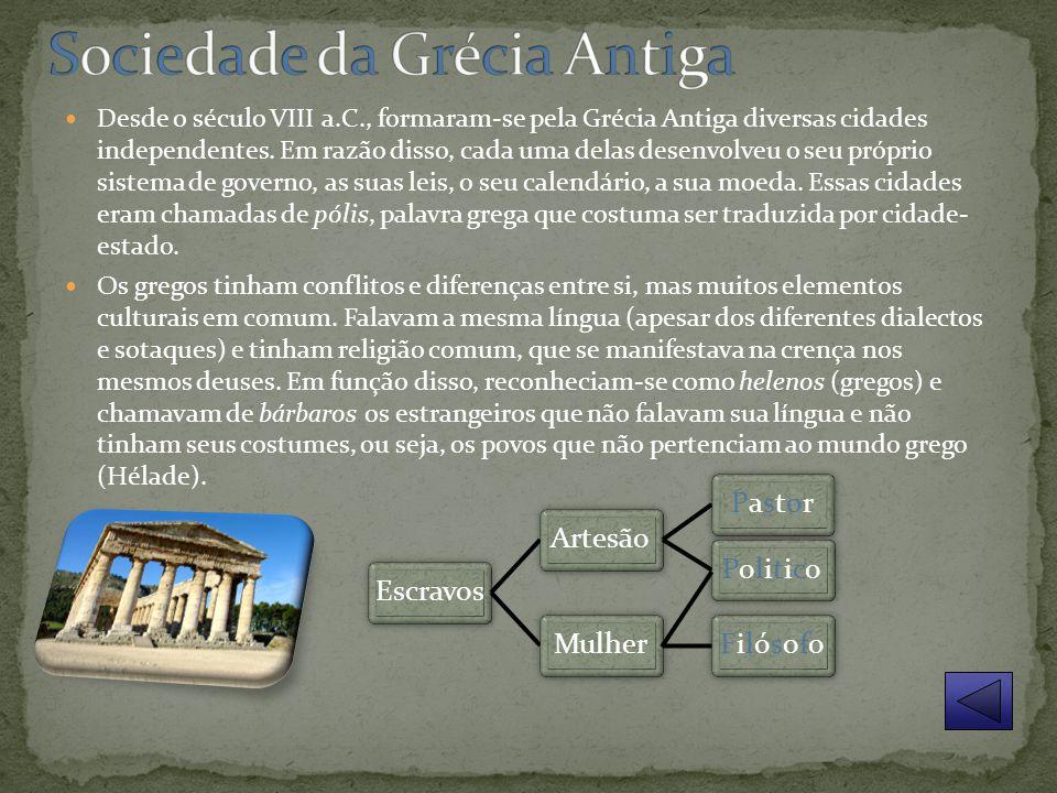 Desde o século VIII a.C., formaram-se pela Grécia Antiga diversas cidades independentes.