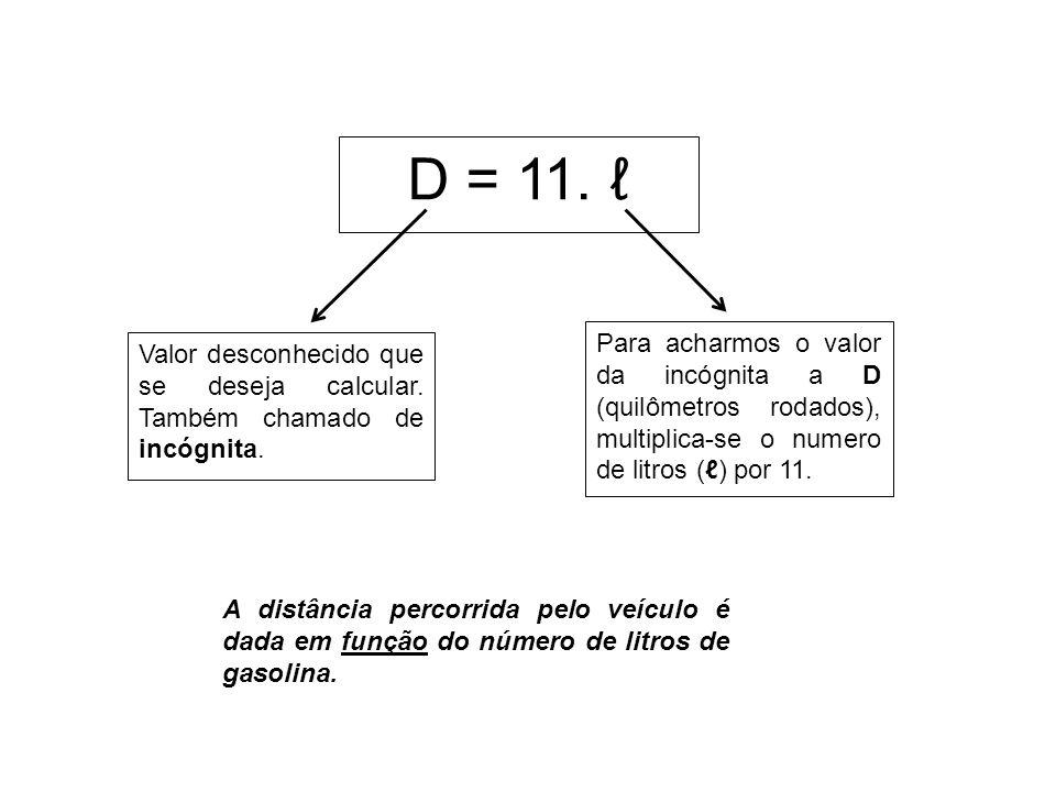 D = 11. Valor desconhecido que se deseja calcular. Também chamado de incógnita. Para acharmos o valor da incógnita a D (quilômetros rodados), multipli