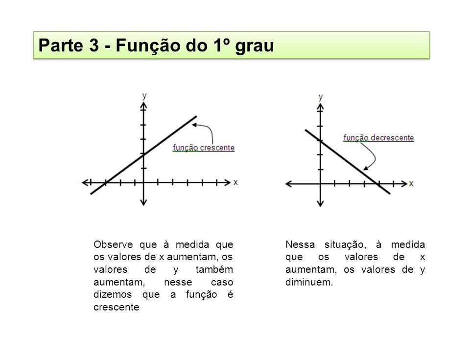 Parte 3 - Função do 1º grau Observe que à medida que os valores de x aumentam, os valores de y também aumentam, nesse caso dizemos que a função é cres