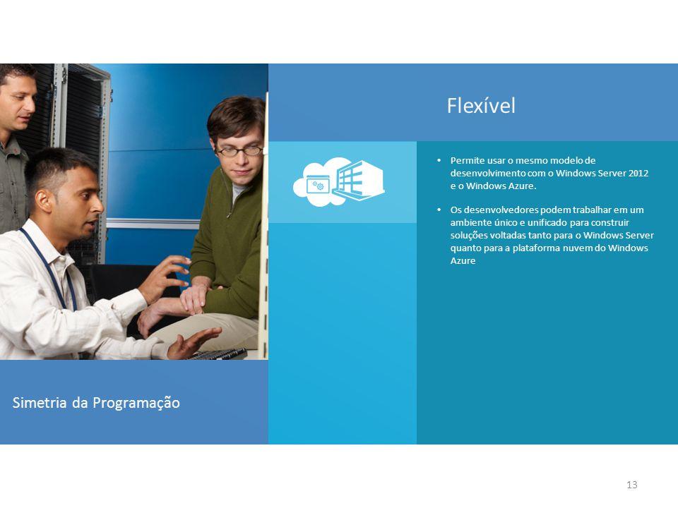 13 Simetria da Programação Permite usar o mesmo modelo de desenvolvimento com o Windows Server 2012 e o Windows Azure.
