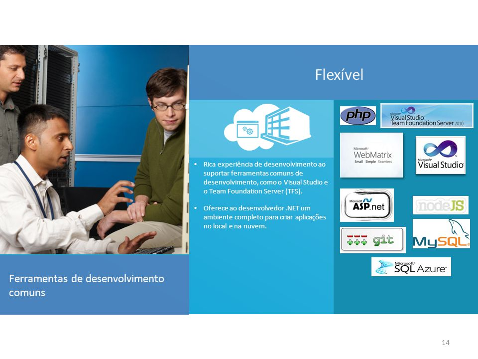 14 Ferramentas de desenvolvimento comuns Rica experiência de desenvolvimento ao suportar ferramentas comuns de desenvolvimento, como o Visual Studio e o Team Foundation Server (TFS).