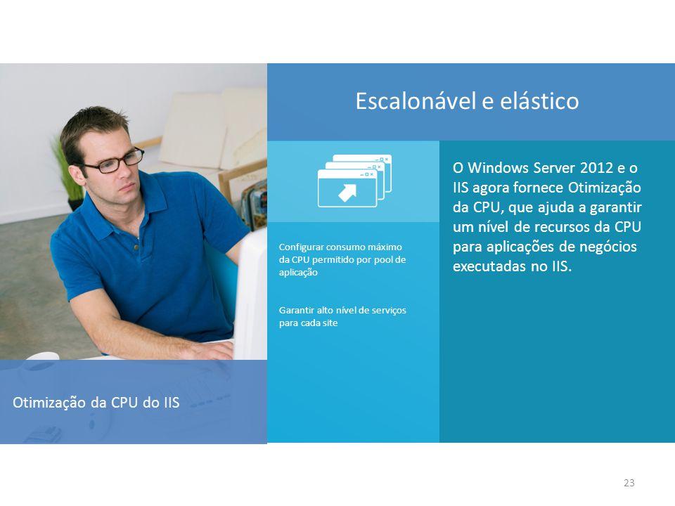 23 Otimização da CPU do IIS O Windows Server 2012 e o IIS agora fornece Otimização da CPU, que ajuda a garantir um nível de recursos da CPU para aplicações de negócios executadas no IIS.