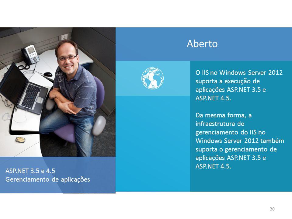 30 O IIS no Windows Server 2012 suporta a execução de aplicações ASP.NET 3.5 e ASP.NET 4.5.