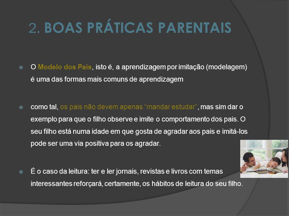 2. BOAS PRÁTICAS PARENTAIS O Modelo dos Pais, isto é, a aprendizagem por imitação (modelagem) é uma das formas mais comuns de aprendizagem como tal, o