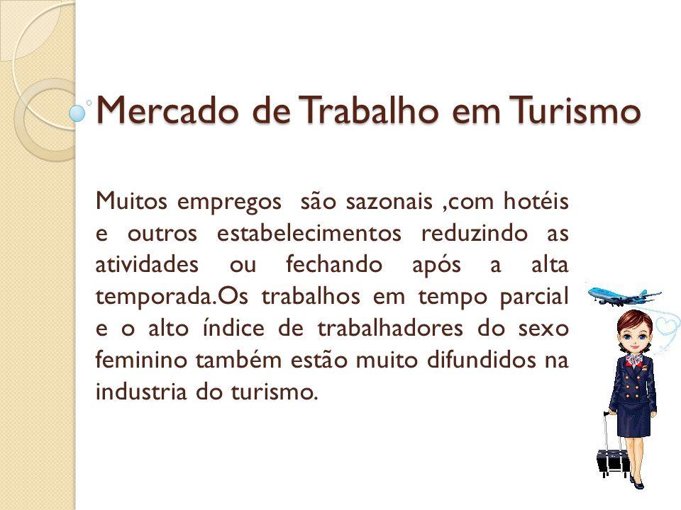 Mercado de Trabalho em Turismo Muitos empregos são sazonais,com hotéis e outros estabelecimentos reduzindo as atividades ou fechando após a alta tempo