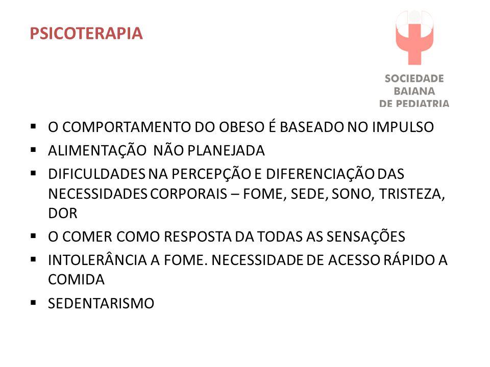 PSICOTERAPIA O COMPORTAMENTO DO OBESO É BASEADO NO IMPULSO ALIMENTAÇÃO NÃO PLANEJADA DIFICULDADES NA PERCEPÇÃO E DIFERENCIAÇÃO DAS NECESSIDADES CORPORAIS – FOME, SEDE, SONO, TRISTEZA, DOR O COMER COMO RESPOSTA DA TODAS AS SENSAÇÕES INTOLERÂNCIA A FOME.