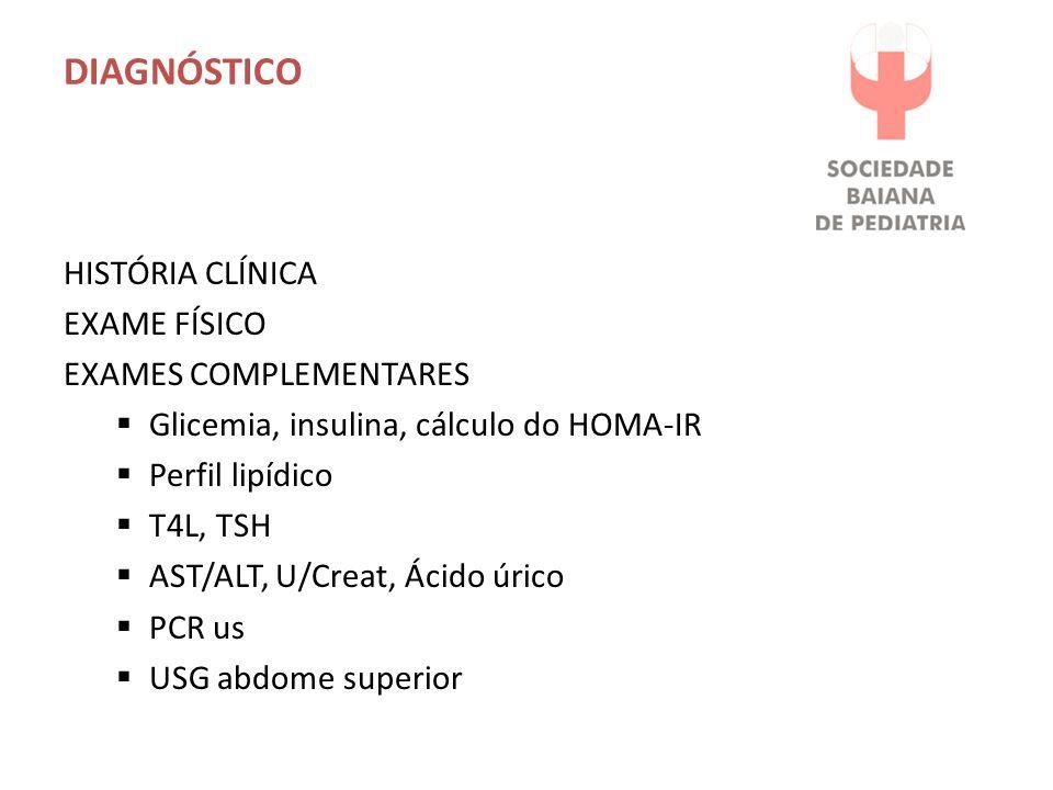 DIAGNÓSTICO HISTÓRIA CLÍNICA EXAME FÍSICO EXAMES COMPLEMENTARES Glicemia, insulina, cálculo do HOMA-IR Perfil lipídico T4L, TSH AST/ALT, U/Creat, Ácid
