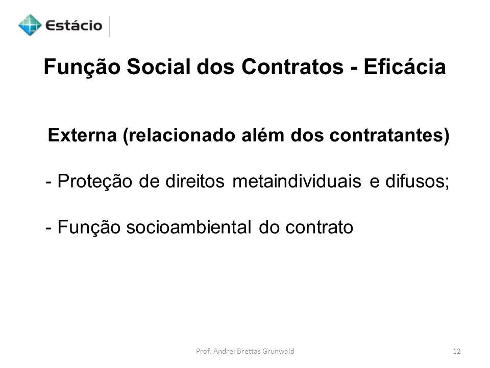 Função Social dos Contratos - Eficácia Externa (relacionado além dos contratantes) - Proteção de direitos metaindividuais e difusos; - Função socioambiental do contrato 12Prof.