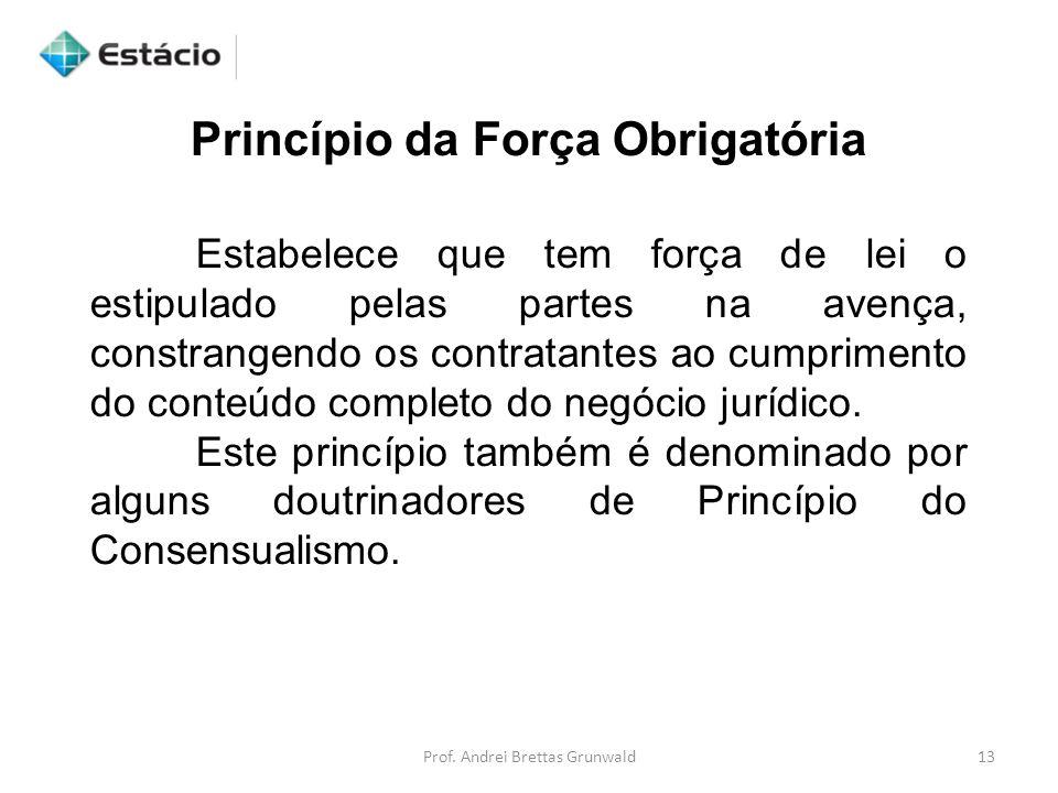 Princípio da Força Obrigatória Estabelece que tem força de lei o estipulado pelas partes na avença, constrangendo os contratantes ao cumprimento do co