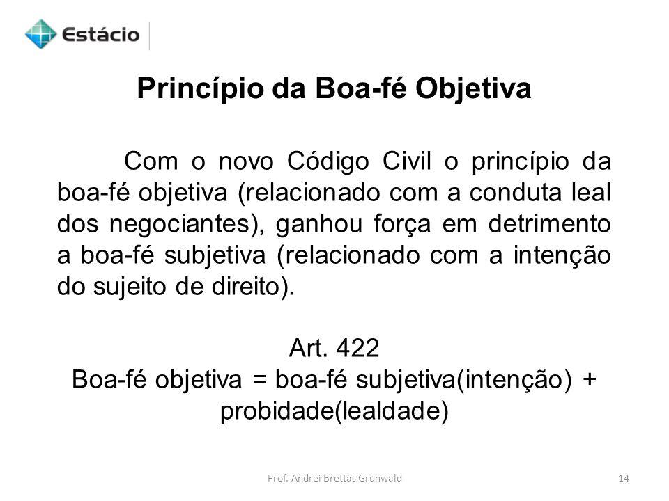 Princípio da Boa-fé Objetiva Com o novo Código Civil o princípio da boa-fé objetiva (relacionado com a conduta leal dos negociantes), ganhou força em