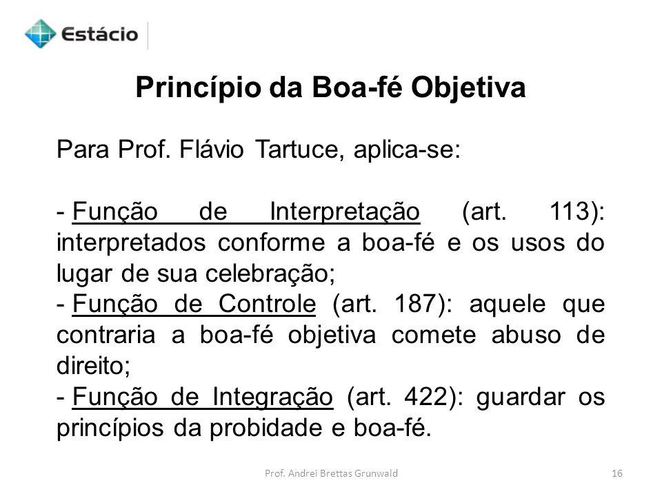 Princípio da Boa-fé Objetiva Para Prof. Flávio Tartuce, aplica-se: - Função de Interpretação (art. 113): interpretados conforme a boa-fé e os usos do