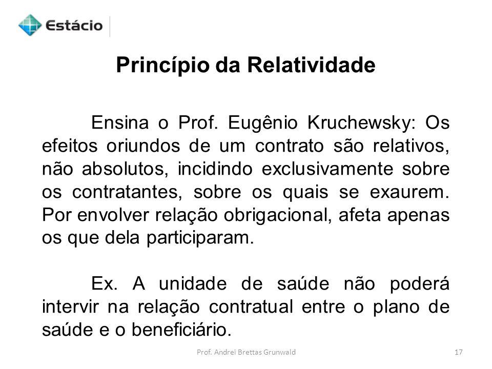 Princípio da Relatividade Ensina o Prof. Eugênio Kruchewsky: Os efeitos oriundos de um contrato são relativos, não absolutos, incidindo exclusivamente
