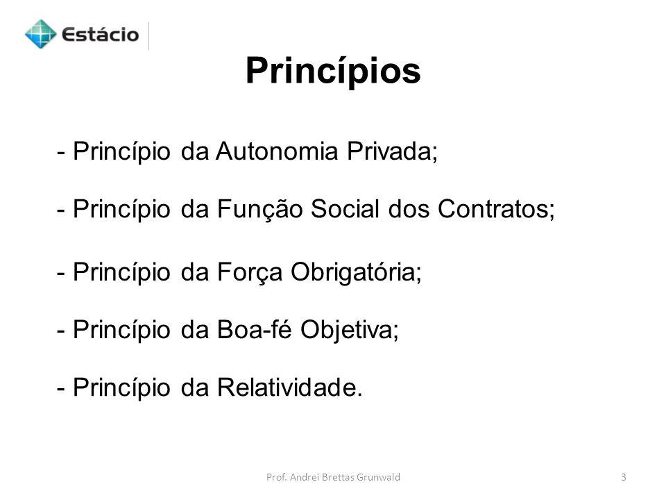 - Princípio da Autonomia Privada; - Princípio da Função Social dos Contratos; - Princípio da Força Obrigatória; - Princípio da Boa-fé Objetiva; - Princípio da Relatividade.