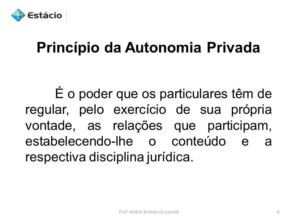 Princípio da Autonomia Privada É o poder que os particulares têm de regular, pelo exercício de sua própria vontade, as relações que participam, estabe