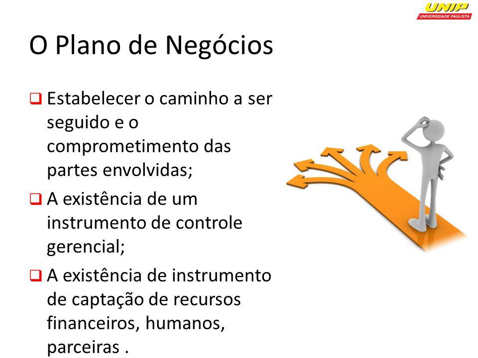 O Plano de Negócios Estabelecer o caminho a ser seguido e o comprometimento das partes envolvidas; A existência de um instrumento de controle gerencial; A existência de instrumento de captação de recursos financeiros, humanos, parceiras.