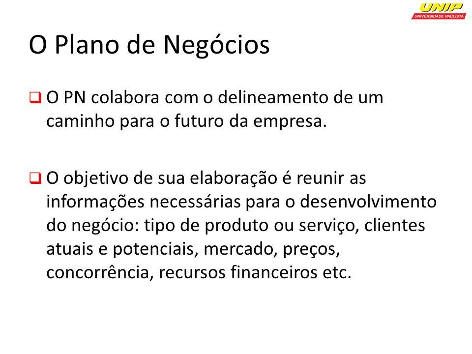 O Plano de Negócios O PN colabora com o delineamento de um caminho para o futuro da empresa.