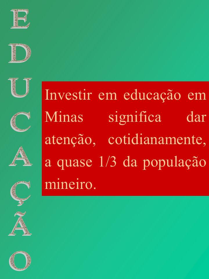 Investir em educação em Minas significa dar atenção, cotidianamente, a quase 1/3 da população mineiro.