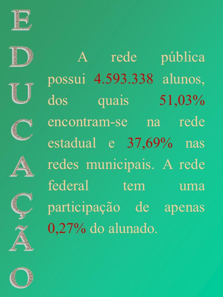A rede pública possui 4.593.338 alunos, dos quais 51,03% encontram-se na rede estadual e 37,69% nas redes municipais. A rede federal tem uma participa