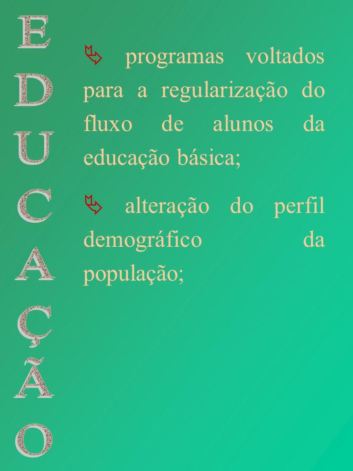 programas voltados para a regularização do fluxo de alunos da educação básica; alteração do perfil demográfico da população;