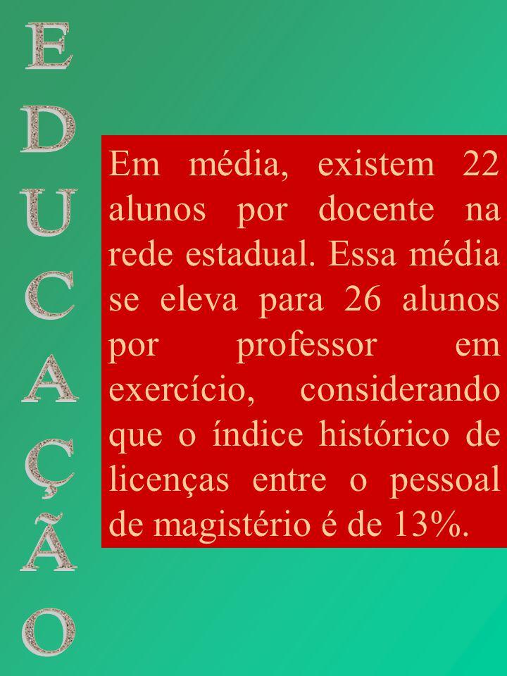 Em média, existem 22 alunos por docente na rede estadual. Essa média se eleva para 26 alunos por professor em exercício, considerando que o índice his