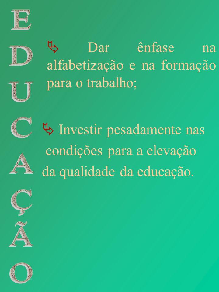 Investir pesadamente nas condições para a elevação da qualidade da educação. Dar ênfase na alfabetização e na formação para o trabalho;
