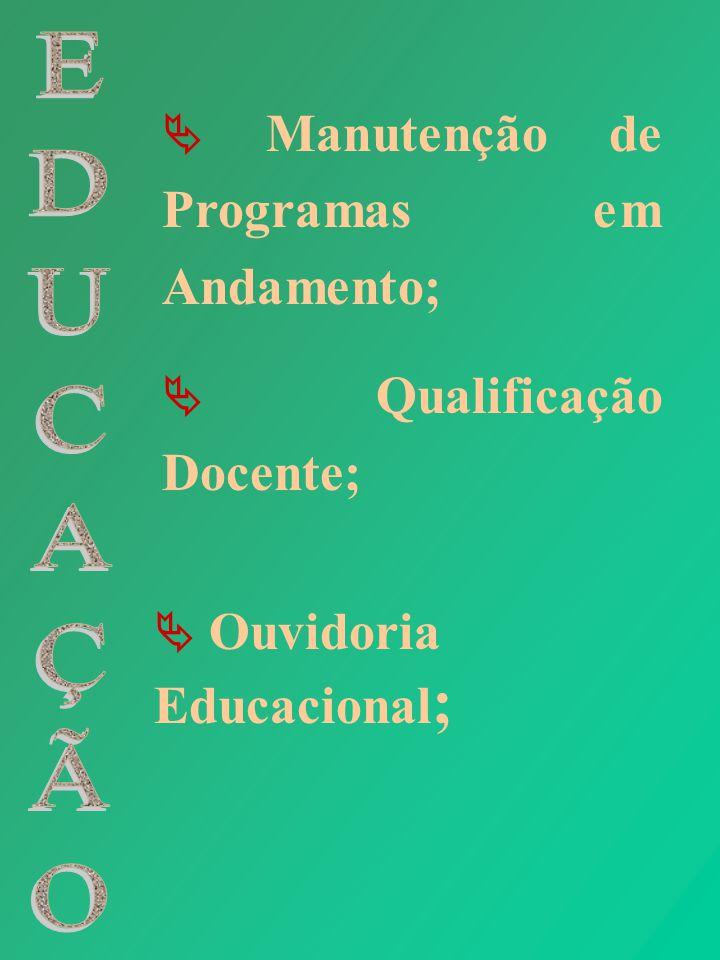 Ouvidoria Educacional ; Manutenção de Programas em Andamento; Qualificação Docente;