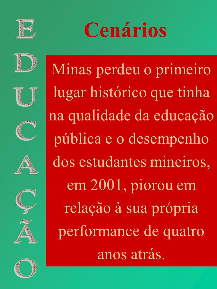 Cenários Minas perdeu o primeiro lugar histórico que tinha na qualidade da educação pública e o desempenho dos estudantes mineiros, em 2001, piorou em