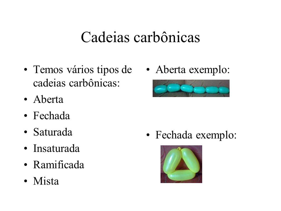 Cadeias carbônicas Temos vários tipos de cadeias carbônicas: Aberta Fechada Saturada Insaturada Ramificada Mista Aberta exemplo: Fechada exemplo: