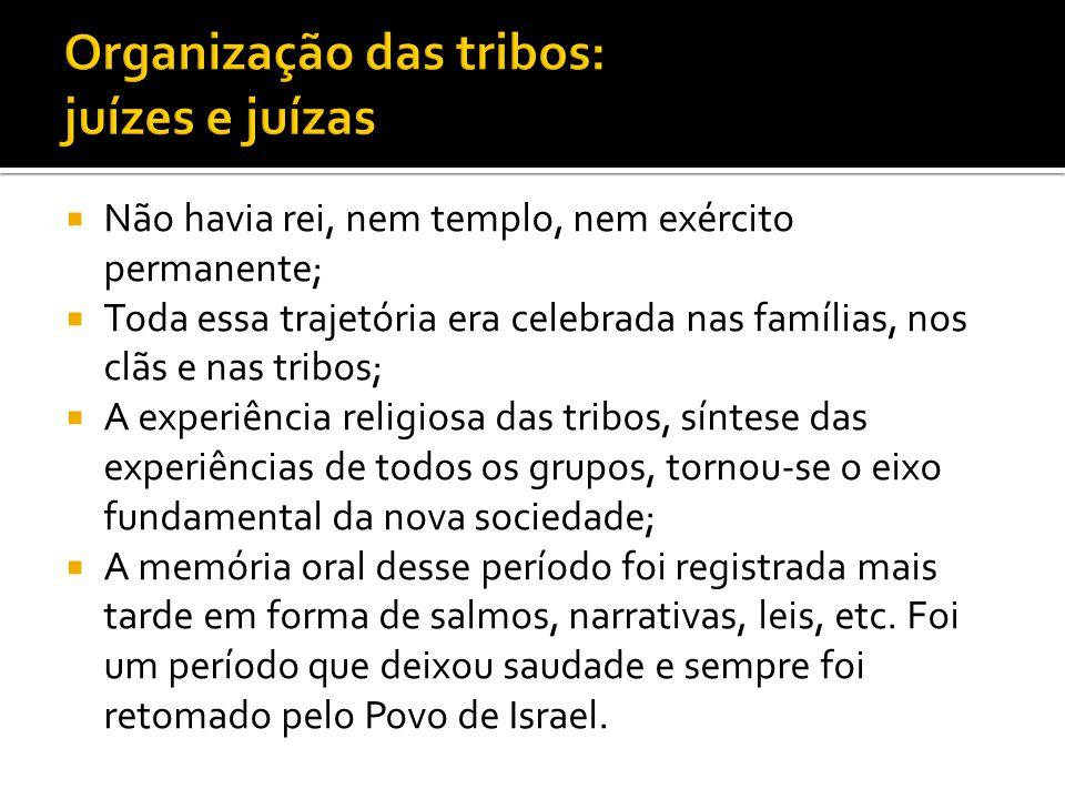Não havia rei, nem templo, nem exército permanente; Toda essa trajetória era celebrada nas famílias, nos clãs e nas tribos; A experiência religiosa da