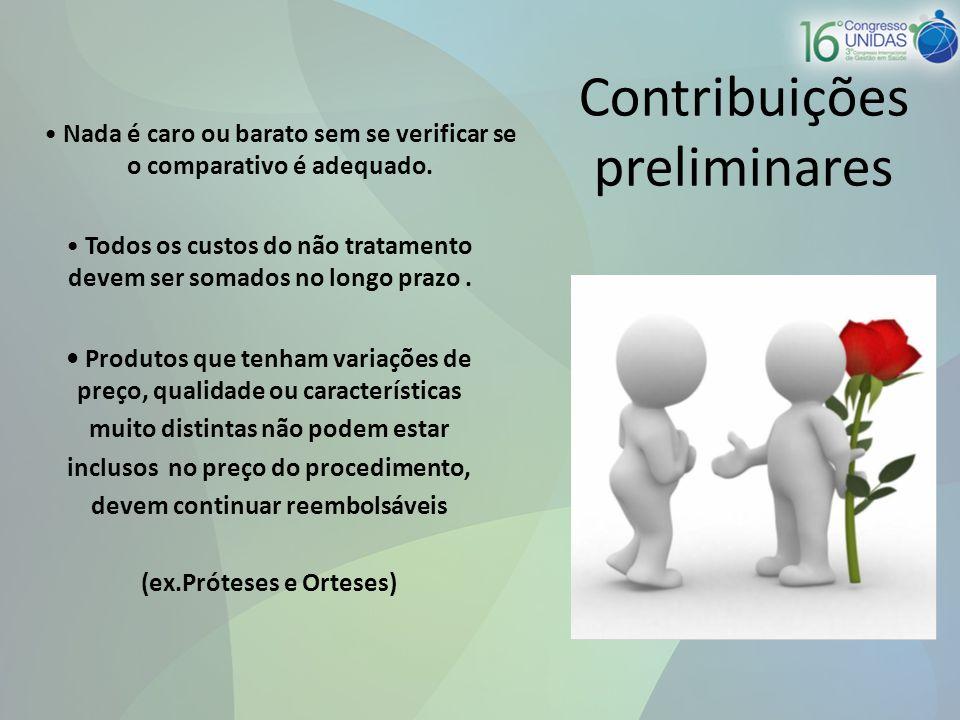 Contribuições preliminares Nada é caro ou barato sem se verificar se o comparativo é adequado.