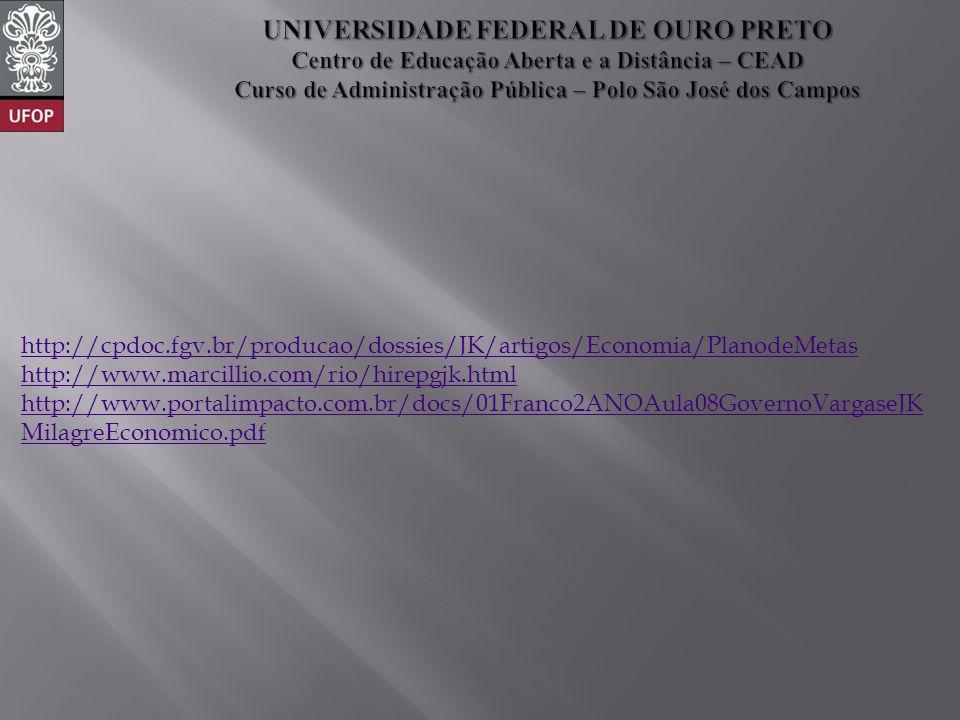 http://cpdoc.fgv.br/producao/dossies/JK/artigos/Economia/PlanodeMetas http://www.marcillio.com/rio/hirepgjk.html http://www.portalimpacto.com.br/docs/01Franco2ANOAula08GovernoVargaseJK MilagreEconomico.pdf