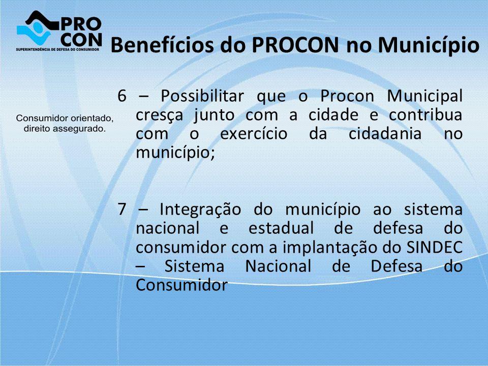 Benefícios do PROCON no Município 6 – Possibilitar que o Procon Municipal cresça junto com a cidade e contribua com o exercício da cidadania no municí