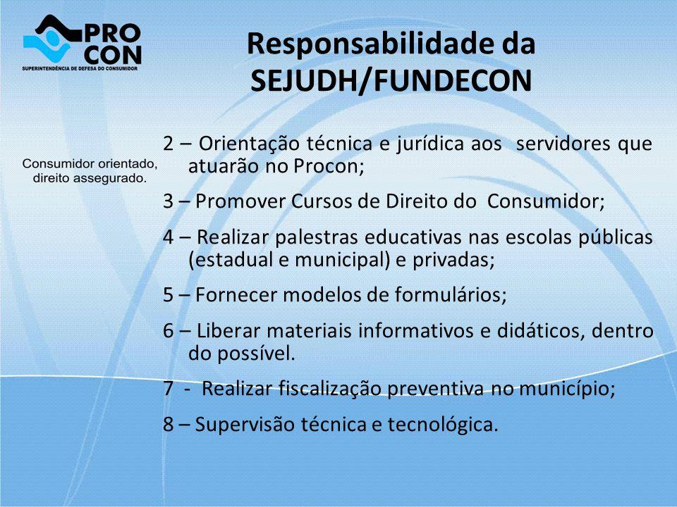 Responsabilidade da SEJUDH/FUNDECON 2 – Orientação técnica e jurídica aos servidores que atuarão no Procon; 3 – Promover Cursos de Direito do Consumid
