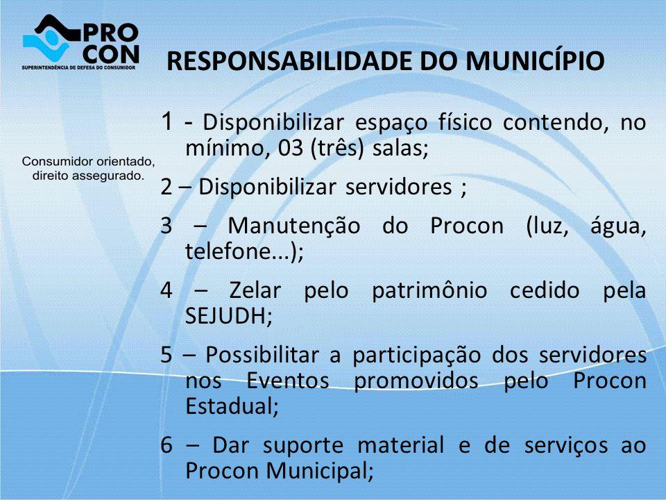 RESPONSABILIDADE DO MUNICÍPIO 1 - Disponibilizar espaço físico contendo, no mínimo, 03 (três) salas; 2 – Disponibilizar servidores ; 3 – Manutenção do
