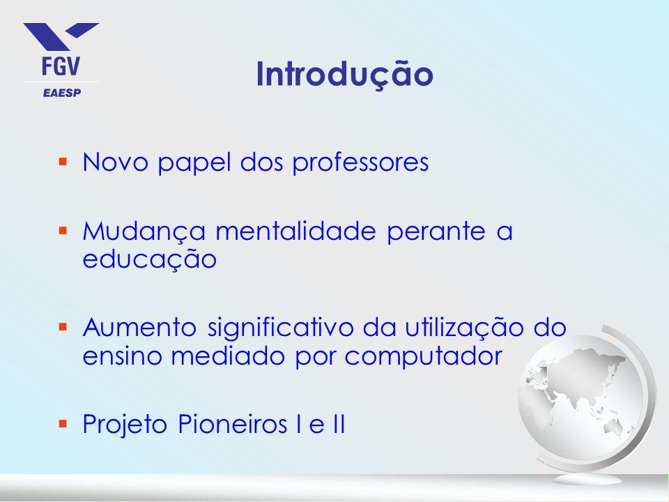 Introdução §Novo papel dos professores §Mudança mentalidade perante a educação §Aumento significativo da utilização do ensino mediado por computador §Projeto Pioneiros I e II