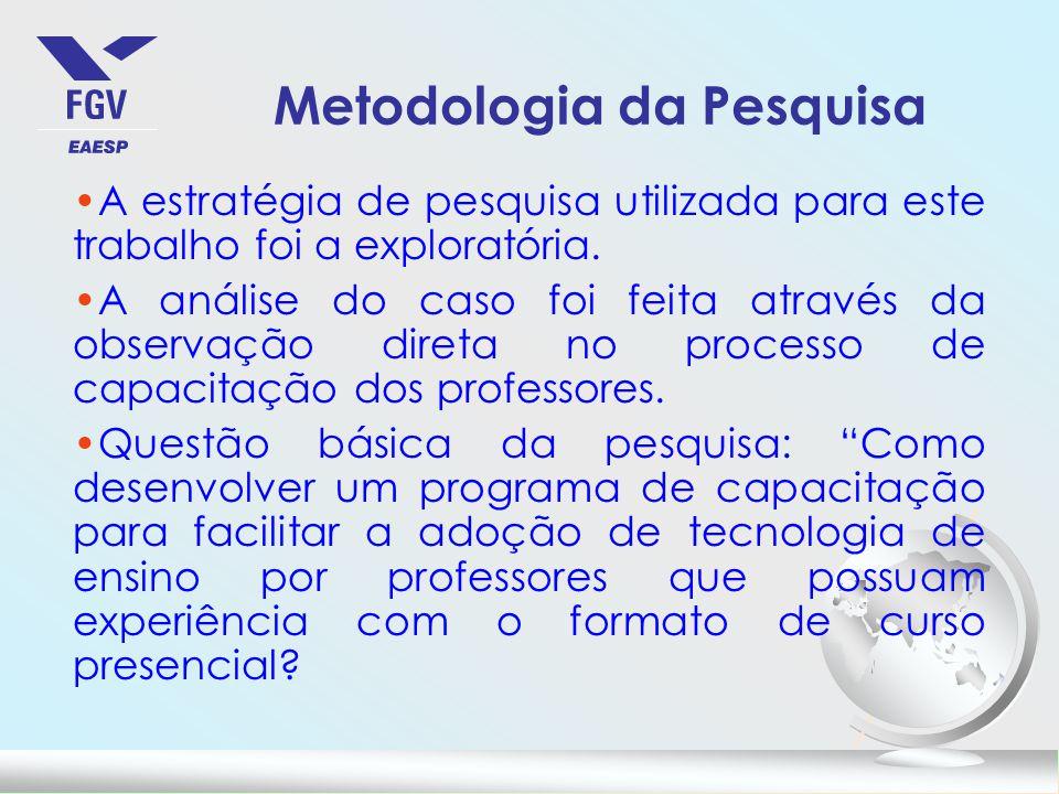 Metodologia da Pesquisa A estratégia de pesquisa utilizada para este trabalho foi a exploratória.