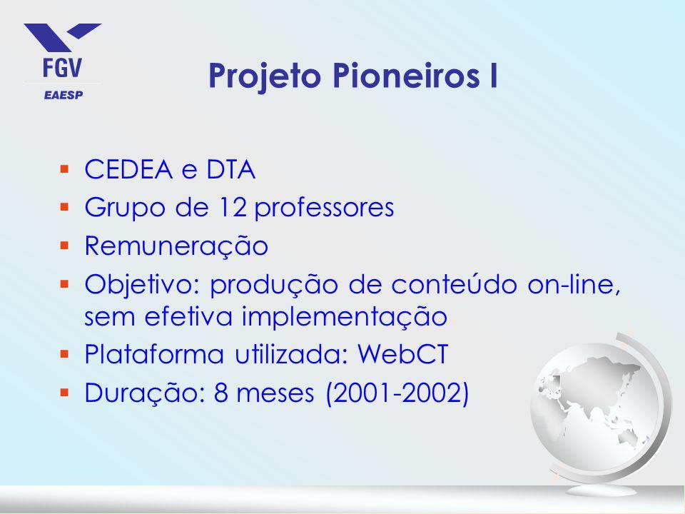 Projeto Pioneiros I §CEDEA e DTA §Grupo de 12 professores §Remuneração §Objetivo: produção de conteúdo on-line, sem efetiva implementação §Plataforma utilizada: WebCT §Duração: 8 meses (2001-2002)